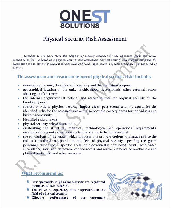 Information Security Risk assessment Template Best Of 10 Security Risk assessment Templates Free Samples