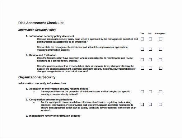 Information Security Risk assessment Template Elegant 10 Sample Security Risk assessment Templates Pdf Word
