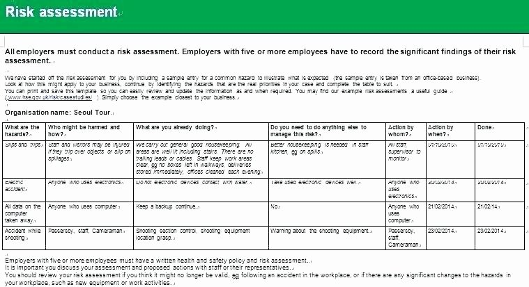 Information Security Risk assessment Template Lovely Security Risk assessment Template Pdf Excel It