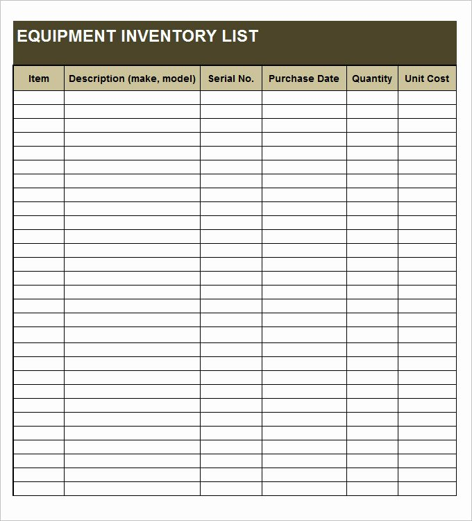 Information Technology Inventory Template Unique Equipment Inventory Template 14 Free Word Excel Pdf