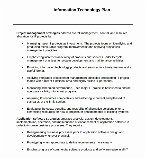 Information Technology Planning Template Fresh Sample Technology Plan Template 9 Free Documents In Pdf
