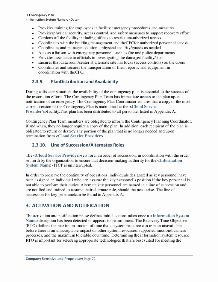 Information Technology Planning Template New Information Technology Contingency Plan Template