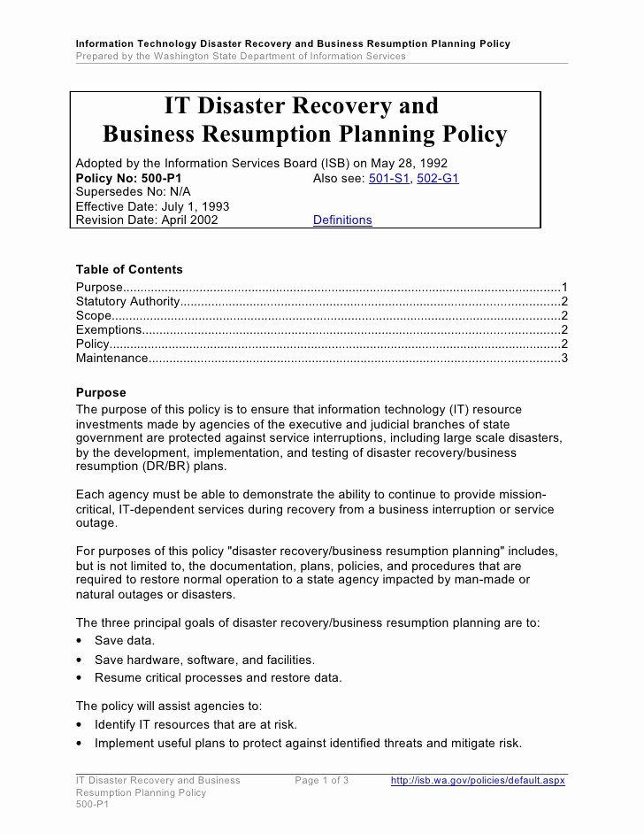 it disaster recovery and business resumption planning policy