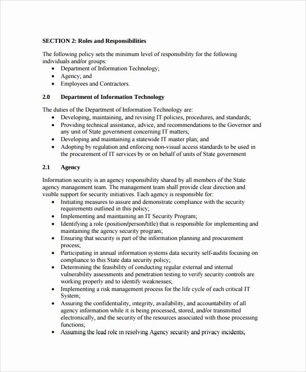 Information Technology Policy Template Elegant 10 It Security Policy Templates