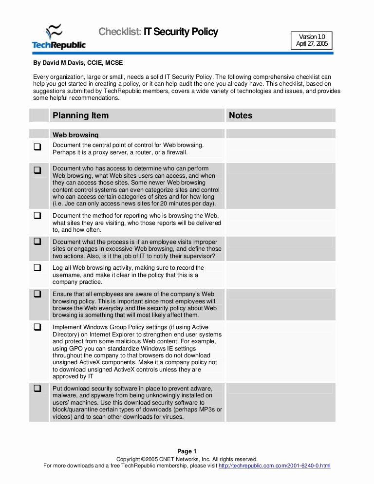 Information Technology Policy Template Elegant Security Policy Checklist