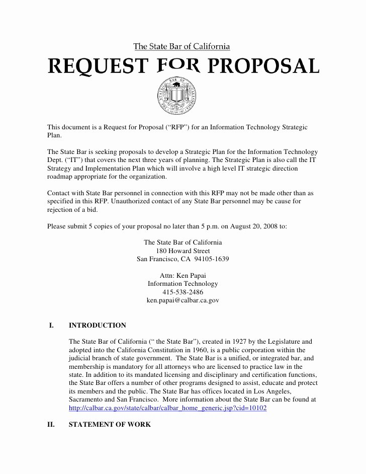 "Information Technology Proposal Template Best Of This Document is A Request for Proposal ""rfp"" for An"