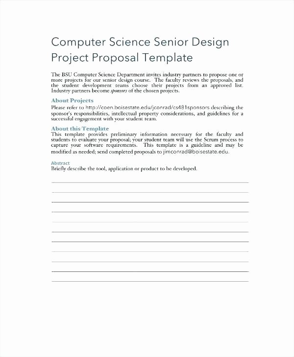 Information Technology Proposal Template New Senior Project Proposal Template Examples High School
