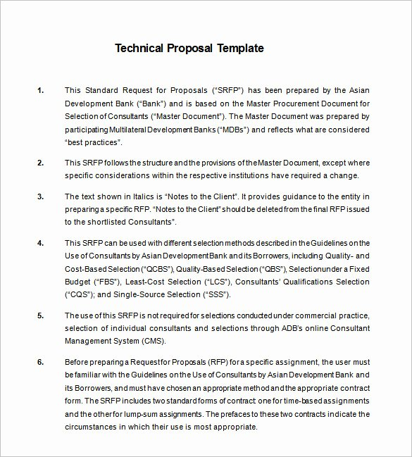 Information Technology Proposal Template New Technical Proposal Templates 21 Free Sample Example