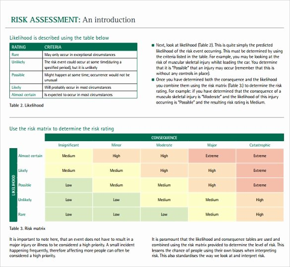 Information Technology Risk assessment Template Lovely Sample It Risk assessment Template 12 Free Documents In