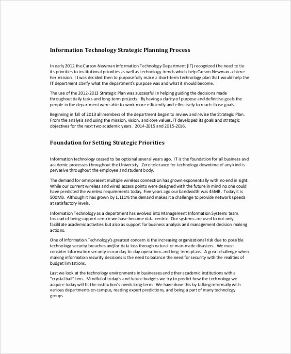 Information Technology Strategic Planning Template Fresh Strategic Planning Template 13 Free Pdf Word Documents