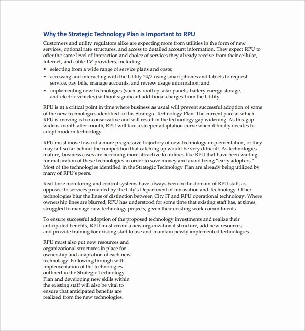Information Technology Strategic Planning Template Unique 10 Technology Plan Templates