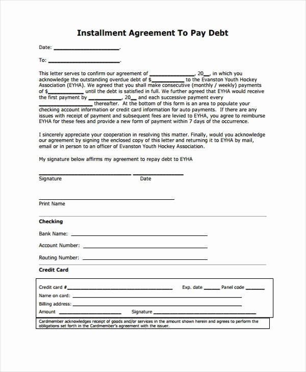 Installment Payment Agreement Template Fresh 7 Installment Agreement form Samples Free Sample