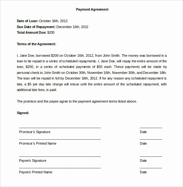 Installment Payment Agreement Template Fresh Payment Plan Agreement Template 12 Free Word Pdf