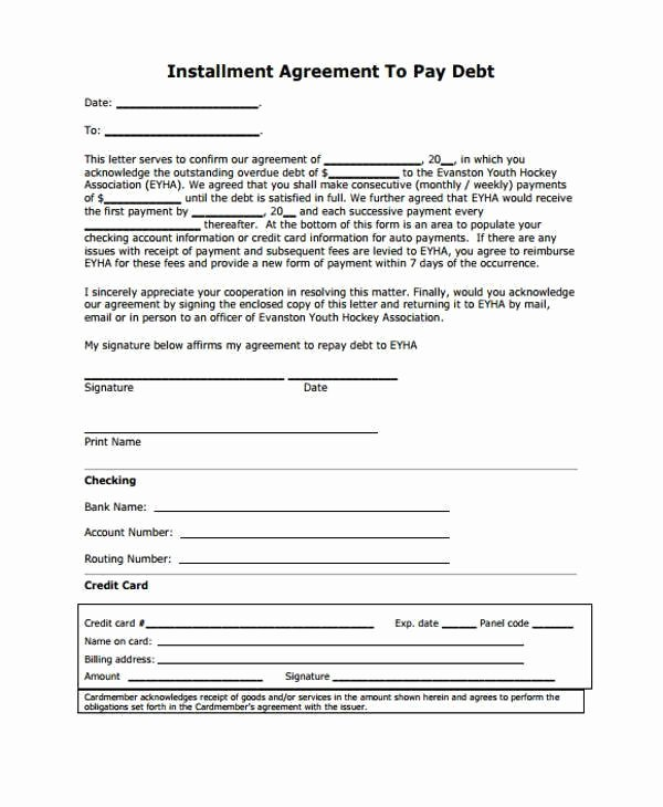 Installment Payment Agreement Template Inspirational Installment Agreement form 10 Sample Payment Plan