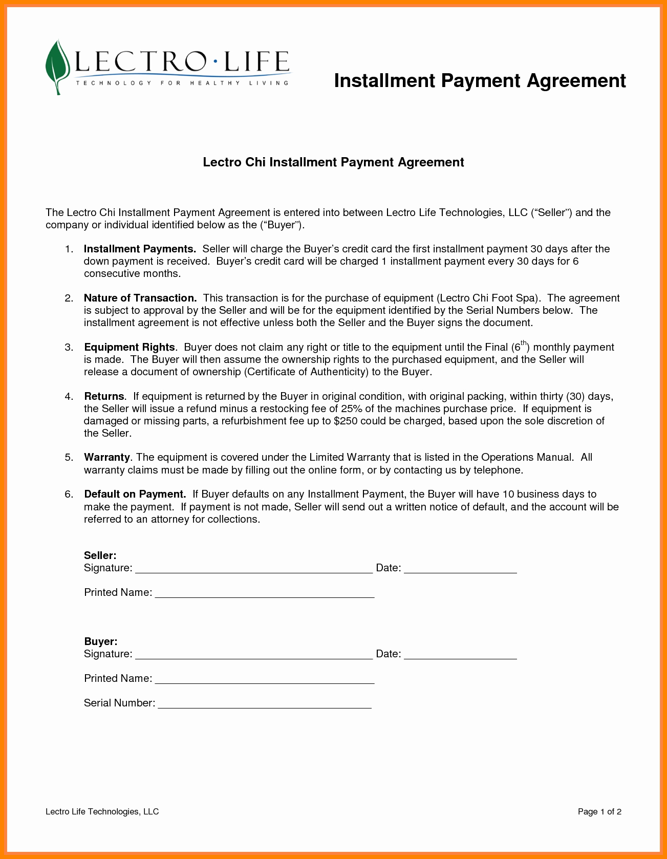 Installment Payment Agreement Template Lovely 7 Installment Payment Plan Agreement Template