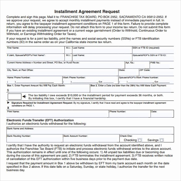 Installment Payment Agreement Template Lovely 7 Sample Installment Agreements