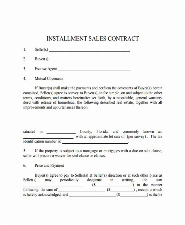 Installment Payment Agreement Template New 7 Installment Contract form Samples Free Sample