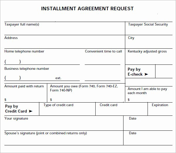 Installment Payment Agreement Template New Installment Agreement 7 Free Pdf Download