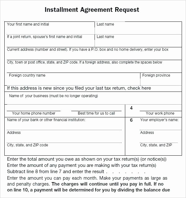 Installment Payment Agreement Template New Installment Agreement form Payment format Advance Sale