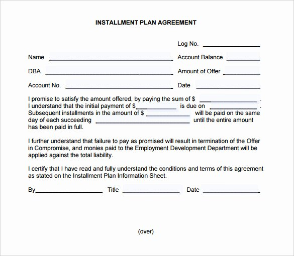 Installment Payment Agreement Template New Payment Plan Agreement Template – 21 Free Word Pdf