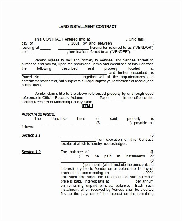Installment Payment Contract Template Beautiful Sample Land Contract form 8 Free Documents In Pdf Doc