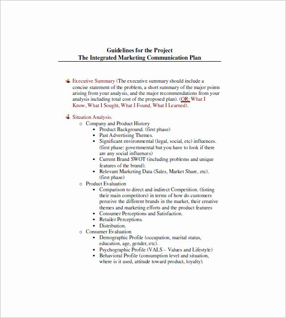 Integrated Marketing Plan Template Lovely 9 Integrated Marketing Munication Plan Templates Doc