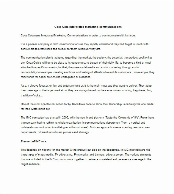 Integrated Marketing Plan Template New 9 Integrated Marketing Munication Plan Templates Doc
