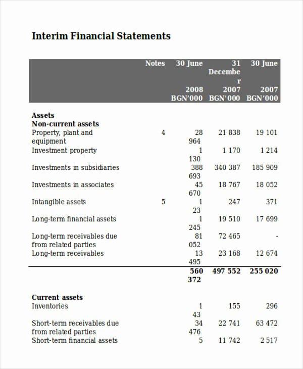 Interim Financial Statement Template New 29 Statement Samples & Templates