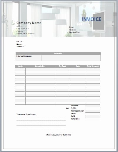 Interior Design Template Free Lovely Interior Design Invoice Template