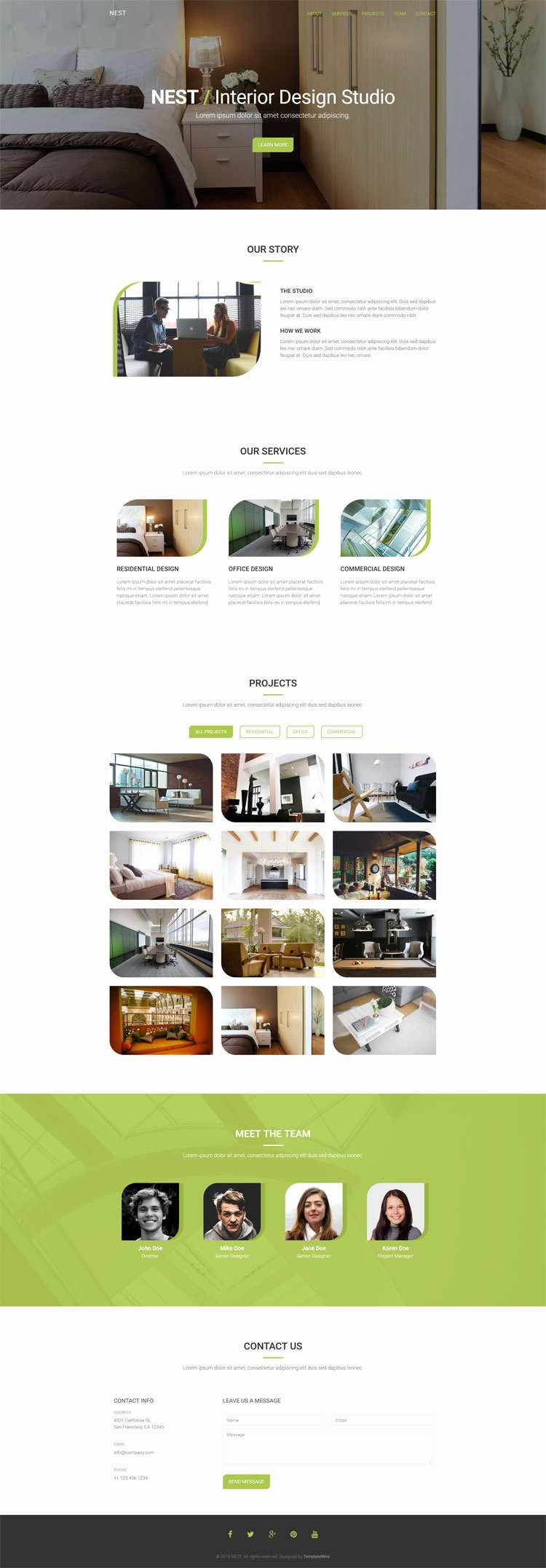 Interior Design Template Free Luxury Nest Free Interior Design Template Bootstrap Templates