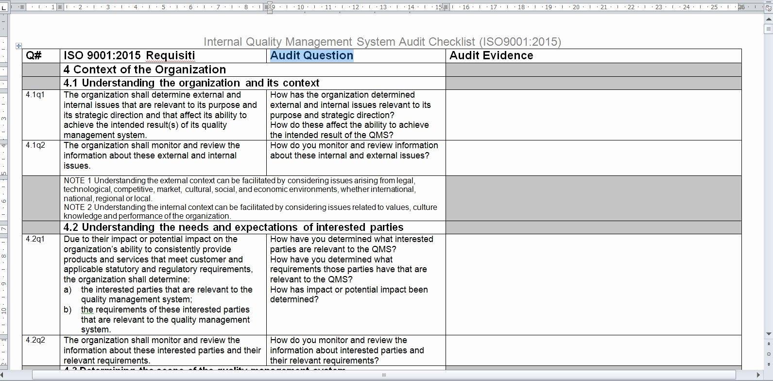 Internal Audit Checklist Template Elegant 30 Suggested Internal Audit Template with Professional