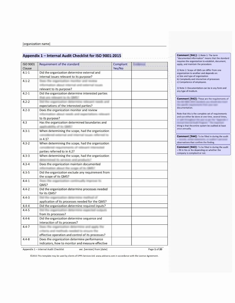 Internal Audit Checklist Template Elegant iso 9001 Audit Checklist What It is How It's Used and why