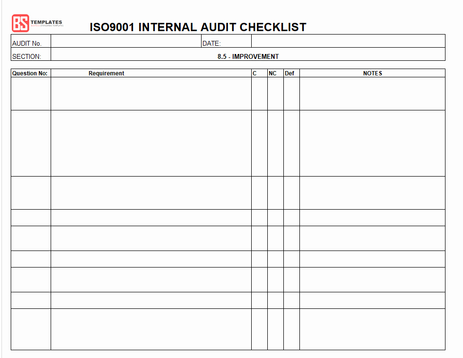 Internal Audit Checklist Template Excel Awesome 15 Internal Audit Checklist Templates Samples Examples