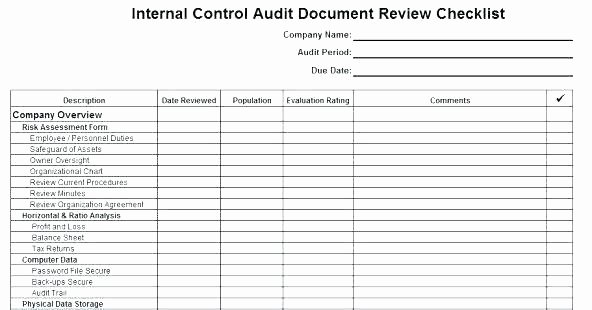 Internal Audit Checklist Template Excel Best Of Internal Control Audit Report Template 3 Quality Sample