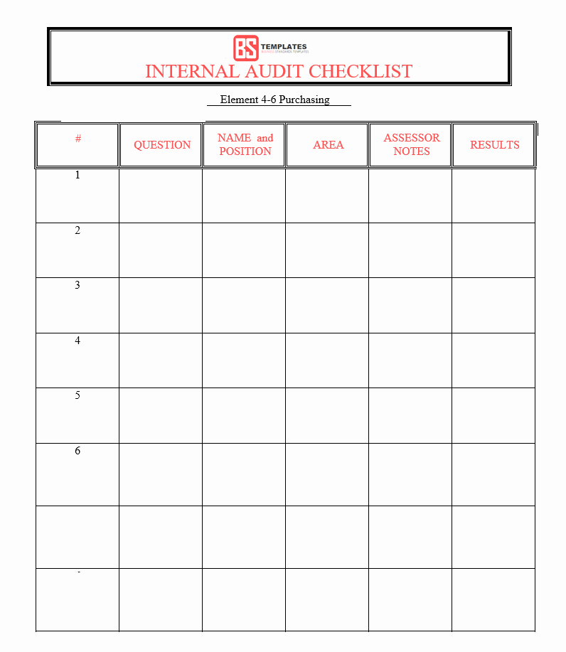 Internal Audit Checklist Template Excel Fresh 15 Internal Audit Checklist Templates Samples Examples