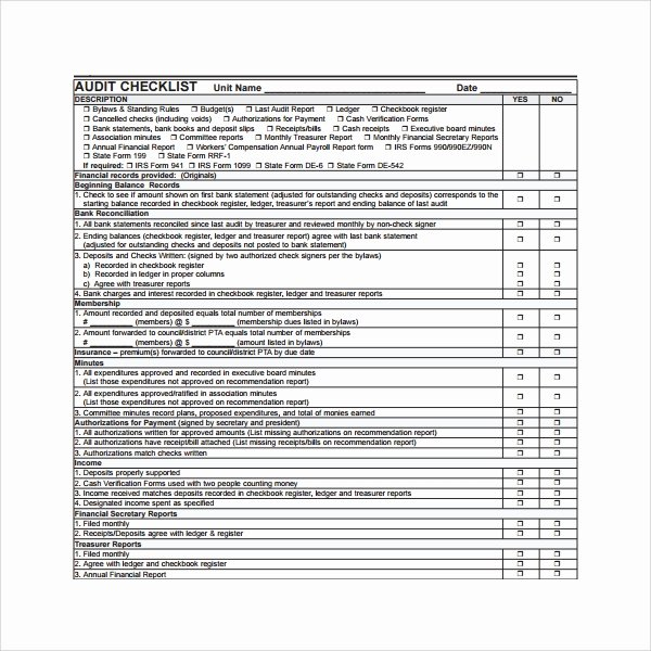 Internal Audit Checklist Template Excel Luxury 13 Audit Checklist Templates – Pdf Word Excel Pages