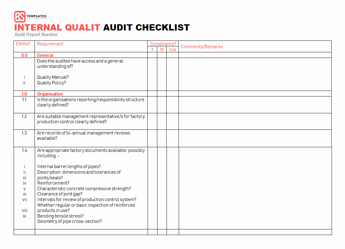 Internal Audit Checklist Template Excel Unique 15 Internal Audit Checklist Templates Samples Examples