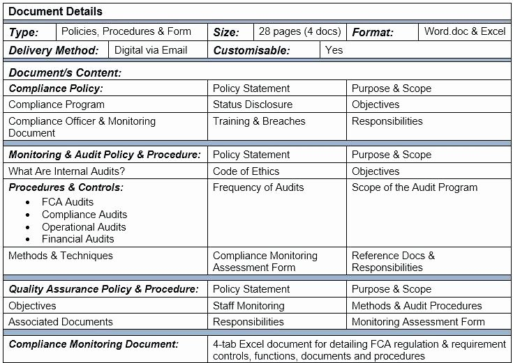 Internal Audit Checklist Template Fresh Internal Audit Policy and Procedure Template