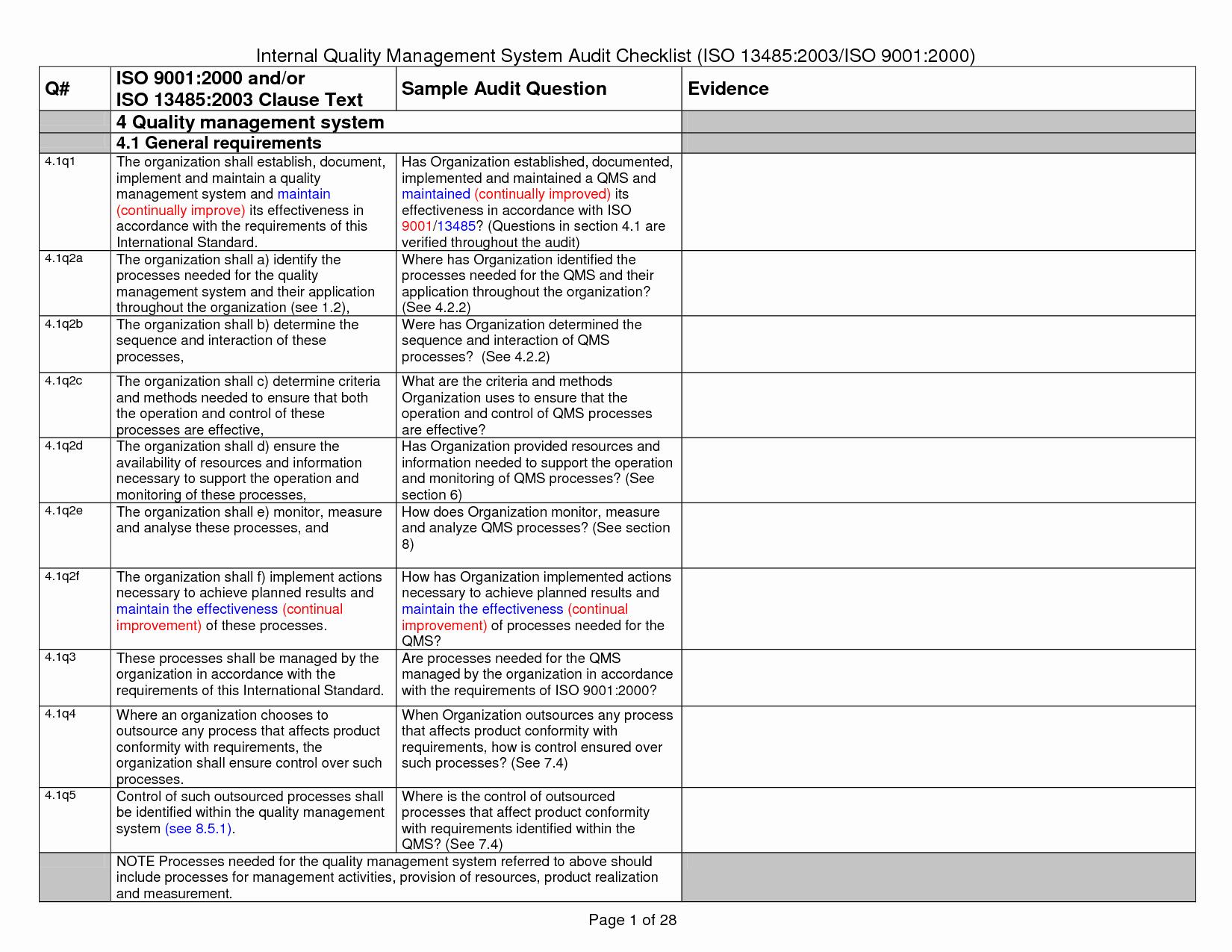 Internal Audit Checklist Template Fresh iso Audit Checklist