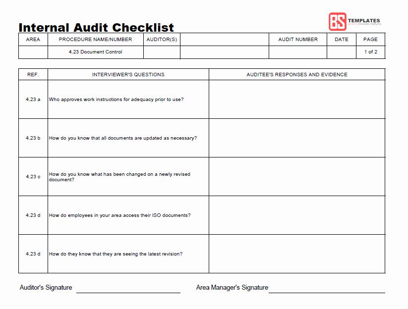 Internal Audit Checklist Template New 15 Internal Audit Checklist Templates Samples Examples