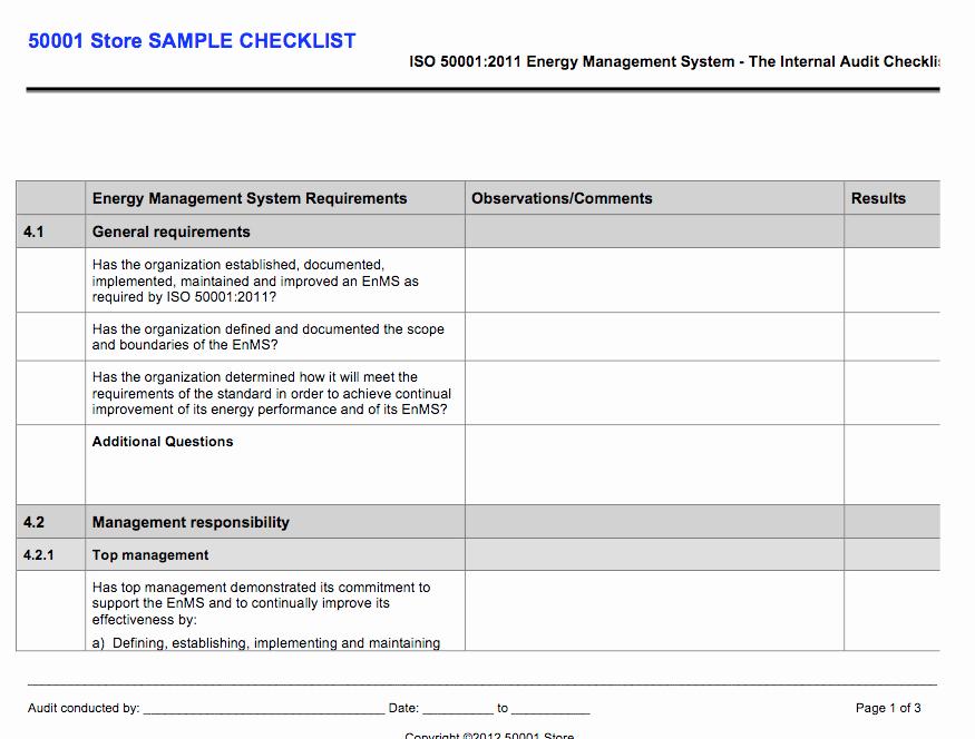 Internal Audit Checklist Template Unique iso Internal Auditor Checklist Store