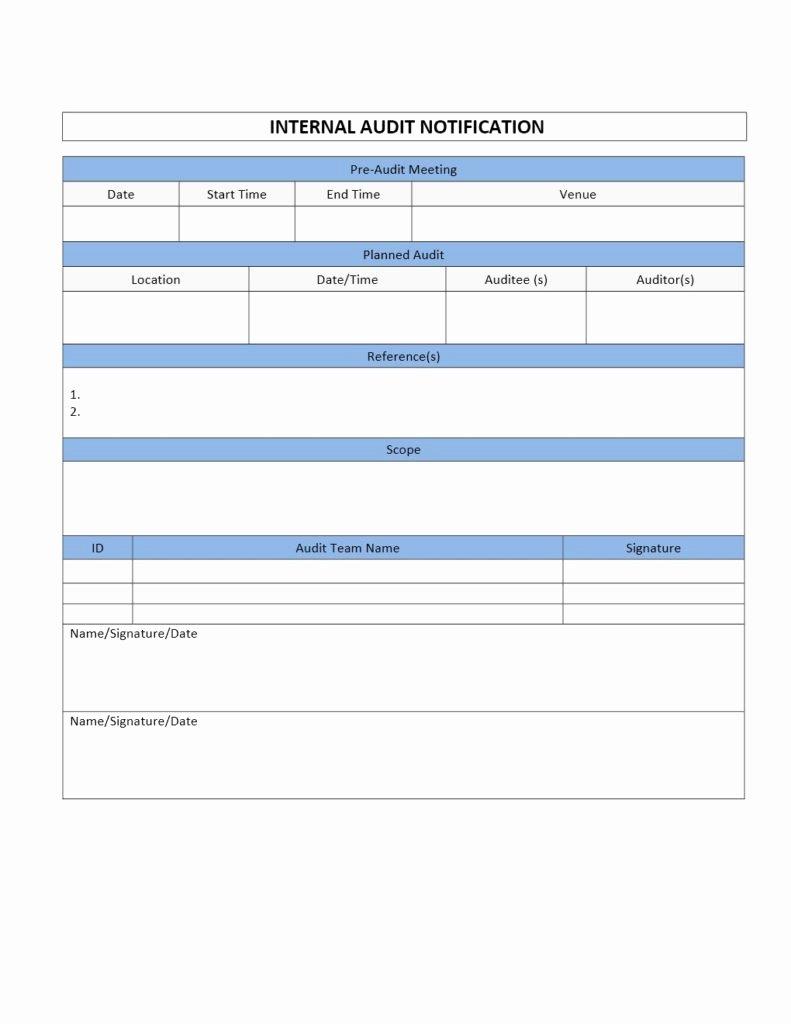 Internal Audit forms Template Beautiful Internal Audit Notification