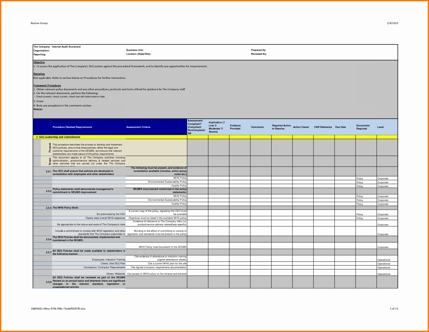 professional internal audit report template example with blank details table form in multi colors accent