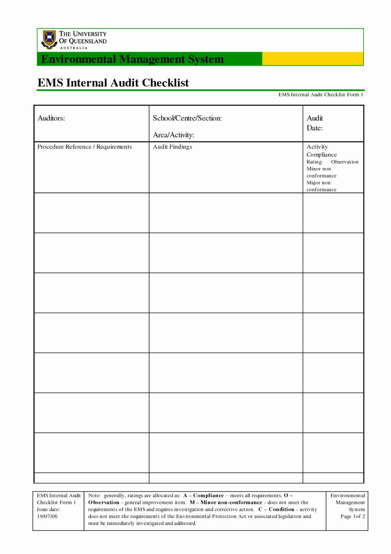 Internal Audit forms Template Fresh Best Ems Internal Audit Checklist form Template with Table