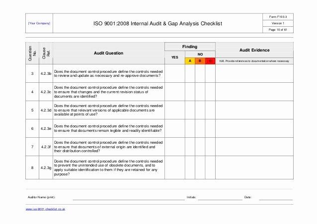 Internal Audit forms Template Fresh Internal Audit Checklist Example