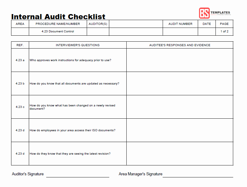 Internal Audit forms Template Lovely 15 Internal Audit Checklist Templates Samples Examples