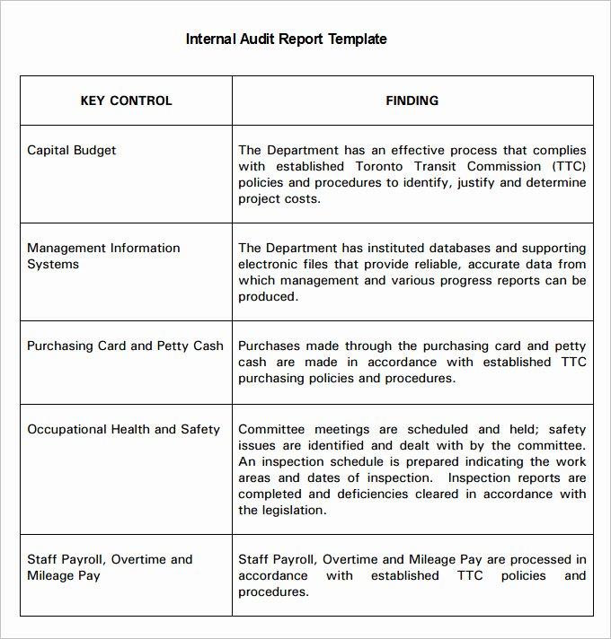 Internal Audit forms Template Lovely 18 Internal Audit Report Templates Pdf Google Docs