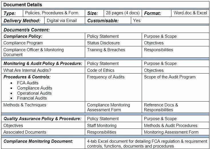 Internal Audit forms Template Luxury Internal Audit sop Template Ality assurance form Template