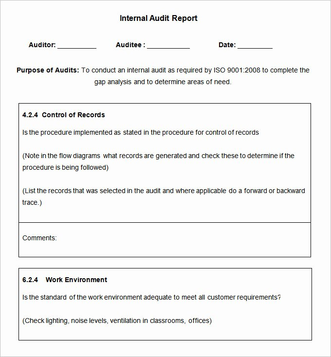 Internal Audit forms Template Unique 19 Internal Audit Report Templates Free Sample Example