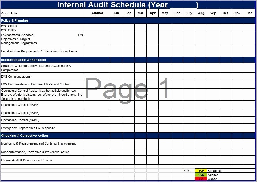 Internal Audit Planning Template Awesome 8 Free Sample Audit Schedule Templates Printable Samples